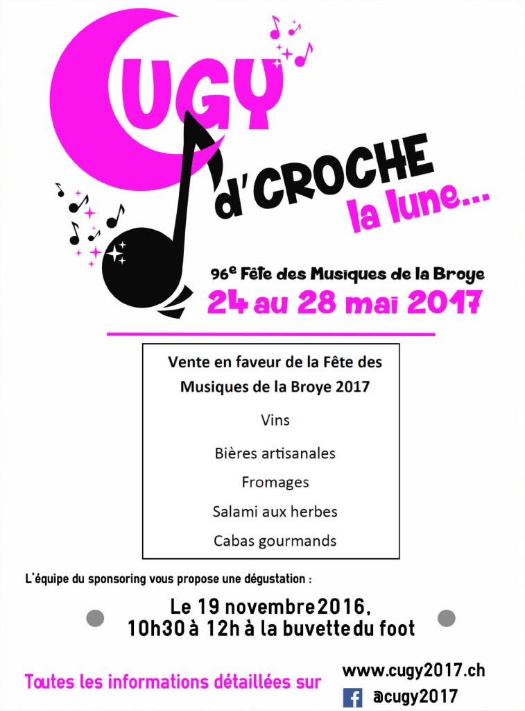 Vente en faveur de la fête des musiques de la Broye 2017