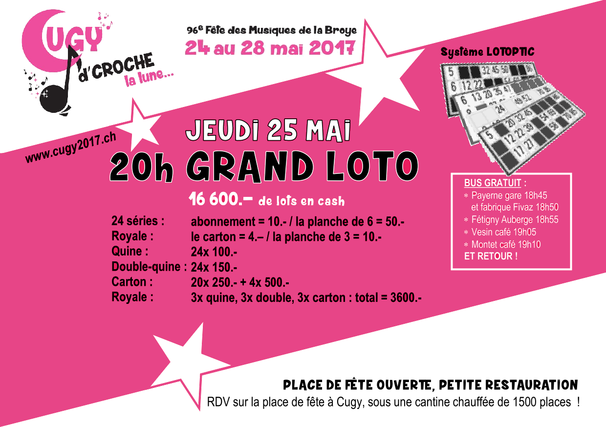 Grand loto avec 16'600.- de lots en cash !